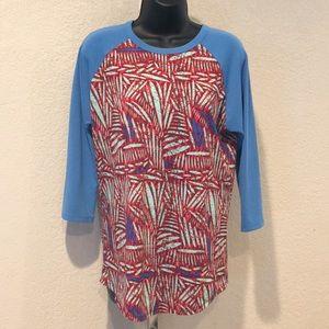 LulaRoe Randy Tee Shirt Blue Red S